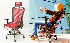 office exercise equipment. The Admittedly Rather Comfy-looking Chair, Comprising A Frame Laced With Bungees In Place Of Seat-squabs, Is Further Enhanced Exercise Equipment, Office Equipment C