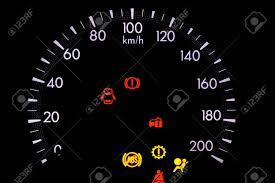 Car Warning Lights Warning Lights In The Car On Black Background