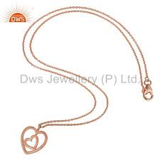 suppliers rose gold plated double heart sterling silver pendant necklace with chain