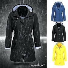 plus size rain jacket winter coat women long solid outdoor hoo clothes waterproof hooded girl lightweight