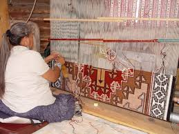 Concept Navajo Rugs Weaving Rug In Progress Notice How She Is Working To Modern Ideas