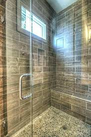 stone shower floor tile pebble wood plank wall and natural diy