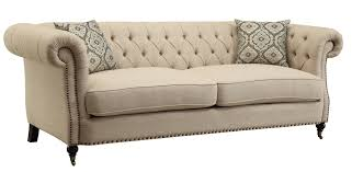 Button Couch Coaster 505821 Trivellato Button Tufted Sofa In Wheat Tone Upholstery