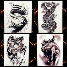 черный боа тотем змея водонепроницаемый временные татуировки наклейки для