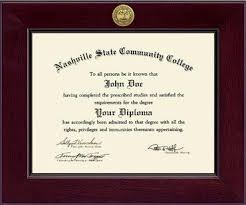 nashville state community college century gold engraved diploma  nashville state community college diploma frame