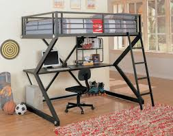 black matte workstation loft bed with desk