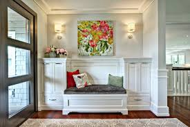 mudroom art entry transitional with area rug solid color decorative pillows