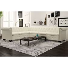 image is loading vidaxl 6 seater chesterfield corner leather sofa couch