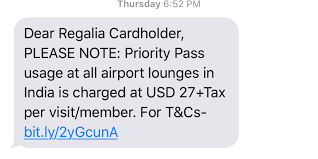 hdfc regalia lounge access sms