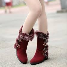 2018 winter snow boots ladies embroidered red lips flats shoes round toe luxury rhinestone keep warm handmade women