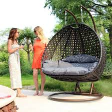 luxury 2 person wicker swing chair with stand and cushion outdoor porch furniture by island gale