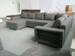 Wohnlandschaft Webstoff Couch Anthrazit