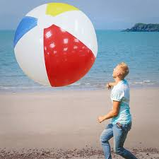 pool water with beach ball. 107cm Kids Inflatable Beach Ball Outdoor Fun Sport Water Toy Children Rubber Pool Play Balls With