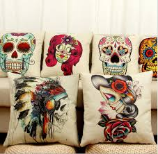 printed pillow cases. Skull Printed Pillow Cases Emoji Cushion Covers 45*45cm Vintage Cover Oil Painting Case Gift Home Textiles D73 12 Standard M