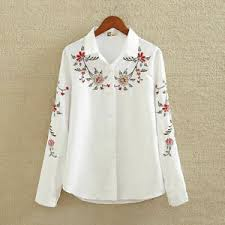 Ebay Asian Size Chart Details About Embroidery White Cotton Shirt New Fashion Women Blouse Long Sleeve Top