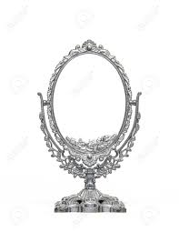 vintage mirror drawing. silver vintage mirror isolated on white background stock photo - 19488328 drawing r