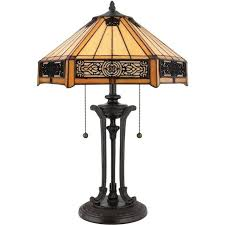 quoizel indus 2 light table lamp in vintage bronze finish and tiffany glass shade