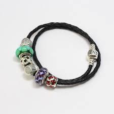 silver 24g pandora black braided double leather charm bracelet