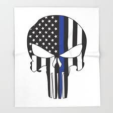 punisher skull american flag thin blue