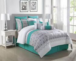 image of grey and teal bedding sets huge size