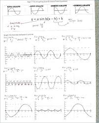 precalculus math answers sine and cosine graphs worksheet math moving words objective answers math worksheets worksheet