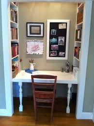 closet office space. converting a closet into an office my hubby built me this amazing desk and bookshelf space f
