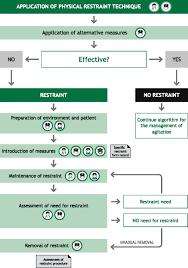 algorithm for the patient with psyctor agitation requiring physical restraint