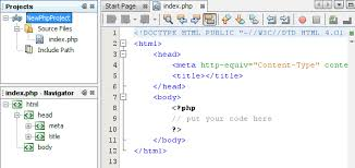 newphpproject open in the ide showing index php in editor