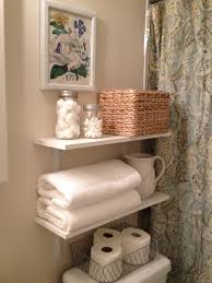 Lovable Homemade White Wooden Towel Storage Shelves For Simple Bathroom  Organizing Designs Added Grey Curtain Bathroom Pictures