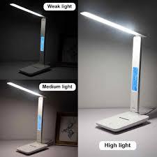 5W/10W Đèn LED Để Bàn Học Đọc Công Tắc Cảm Ứng Đèn Để Bàn Có Lịch Nhiệt Độ Đồng  Hồ Báo Thức sạc Đèn Đọc Sách|Đèn Bàn