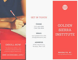 tri fold school brochure template red and white photo school trifold brochure templates by canva