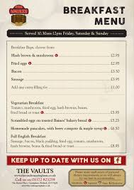 breakfast menu template breakfast menu the vaults uppingham
