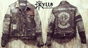 hand crafted custom jacket rock metal punk stage rockstar leather denim by kylla custom rock wear custommade com
