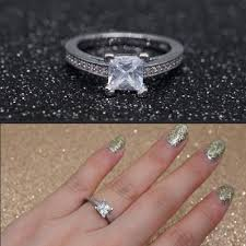 Buy blue diamond <b>princess</b> cut ring from 3 USD — free shipping ...