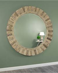 elton large round distressed wooden frame wall mirror
