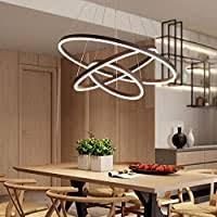 <b>Modern</b> Foyer Pendant Light <b>Brown</b> Circular <b>LED Chandelier</b> ...