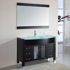 bathroom place vanity contemporary: cool wall mirror design idea feat modern black bathroom vanity with glass countertop and undermount sink
