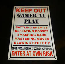 Image Is Loading Funny Keep Out Gamer At Play Bedroom Door