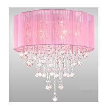 pink chandelier lighting. 6 Light Pink Chandelier For Girls Rooms With Chrome And Crystal Shaped Pieces - Amazon.com Lighting