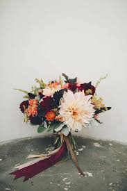 november wedding bouquet bridal bouquets fall flowers arrangements burgundy peach orange dahlias