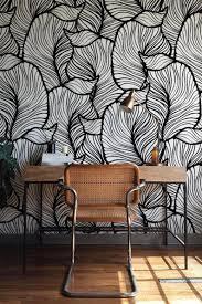 Zwart Wit Blad Behang Exotische Bladeren Behang Barok Stijl Etsy