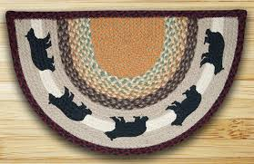 earth rugs cabin bear earth rugs cabin bear printed braided slice area rug 18 x 29 scp 395
