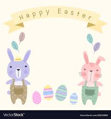 Easter Template Happy Easter Card Template With Pastel Cute