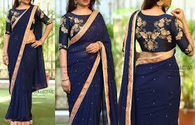 Simple Saree With Heavy Designer Blouse Pin By Niveditha Latharaj On Blouse Designs Plain Saree