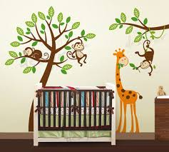 jungle tree with monkeys and giraffe wall decal decor kids stickers for baby room artwork art children rooms elephant childrens prints white decals