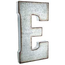 galvanized metal letter wall decor e