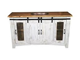 amazon burleson home furnishings 60 inch distressed white farmhouse sliding barn door single sink bathroom vanity fully embled with copper drop in