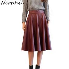 2019 neophil 2017 vintage retro winter faux leather pleated midi womens skirts pu black high waist ball gown swing longa saia s1023 from watchlove