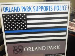 Orland Park Vehicle Sticker With Blue Lives Matter Symbol Stirs