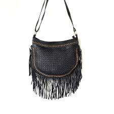 boho leather bag black